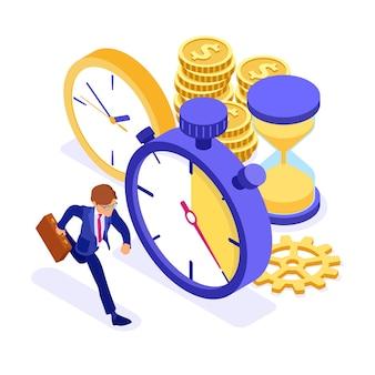 Cronograma de planejamento e conceito de gerenciamento de tempo com cronômetro