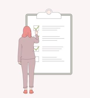 Cronograma de planejamento, trabalho feito, conceito de lista de verificação.