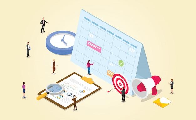 Cronograma de trabalho para o escritório de gerenciamento de projetos com relógio de ponto alvo dos funcionários com estilo isométrico moderno