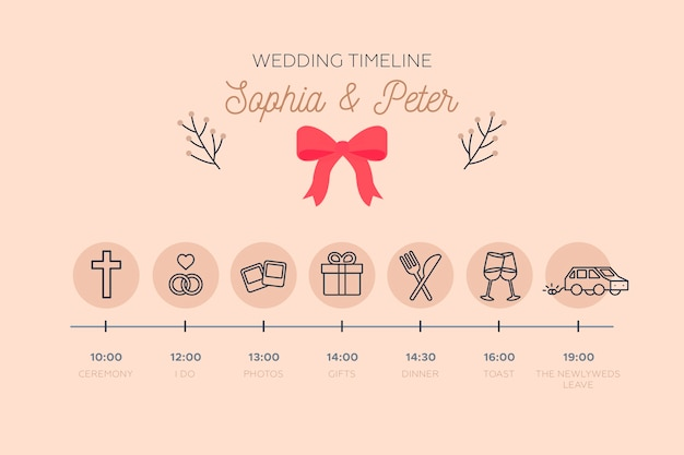 Cronograma delicado do casamento em estilo linear