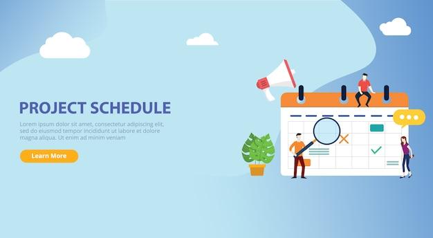 Cronograma do calendário do cronograma do projeto