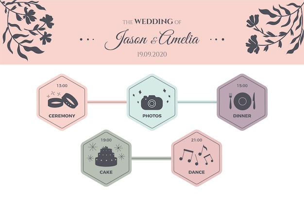 Cronograma do casamento colorido elegante
