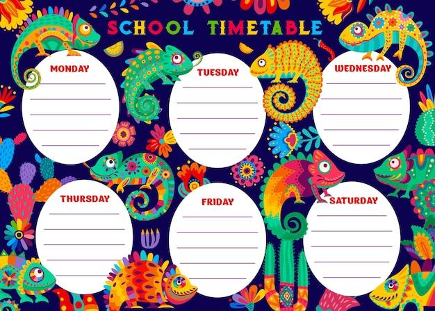 Cronograma do cronograma de educação com camaleão, cactos