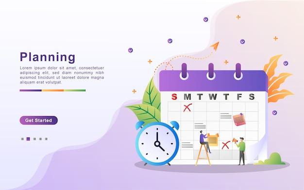 Cronograma e conceito de planejamento, criação de plano de estudo pessoal, planejamento de horário comercial, eventos e notícias, lembrete e programação.