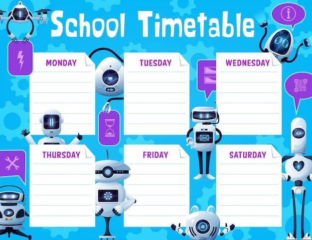 Cronograma escolar com robôs e drones