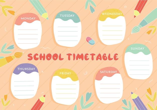 Cronograma escolar cronograma de aulas semanais em ilustração vetorial modelo de planejador pronto para imprimir