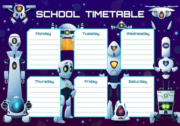 Cronograma escolar de robôs humanóides e andróides