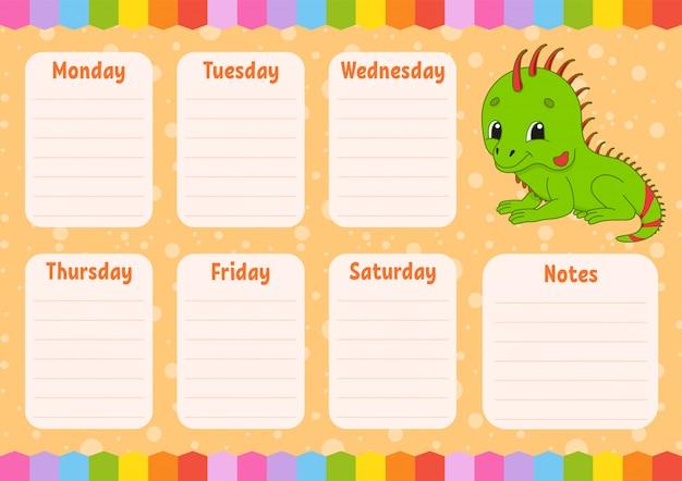 Cronograma escolar. desenhos animados de iguana.