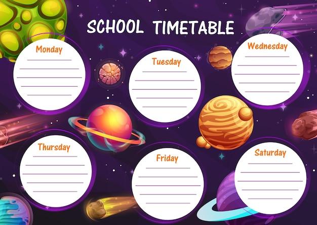 Cronograma escolar dos planetas espaciais dos desenhos animados