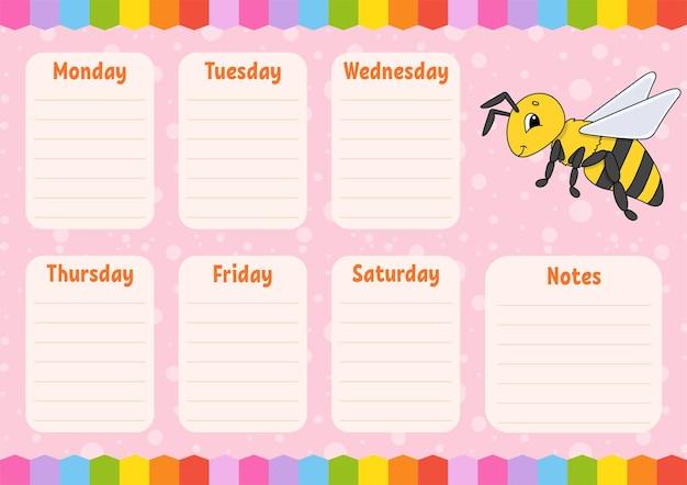 Cronograma escolar. horário para alunos. abelha listrada. modelo vazio. plaina semanal com notas. personagem de desenho animado.