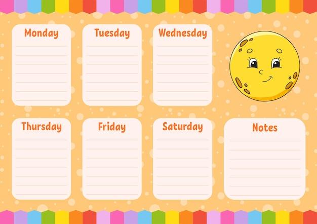 Cronograma escolar. lua fofa. horário para alunos. modelo vazio. plaina semanal com notas. personagem de desenho animado.
