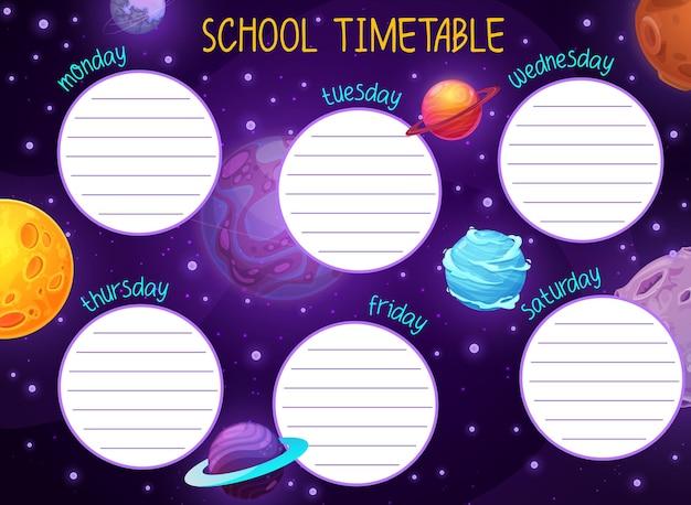 Cronograma espacial com estrelas e planetas de galáxias