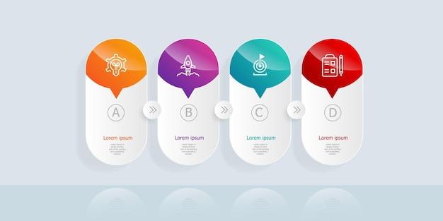 Cronograma horizontal infográficos 4 etapas