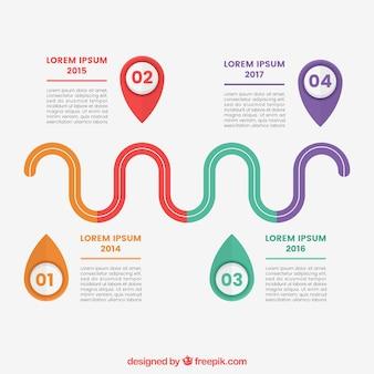 Cronograma plano com estilo colorido