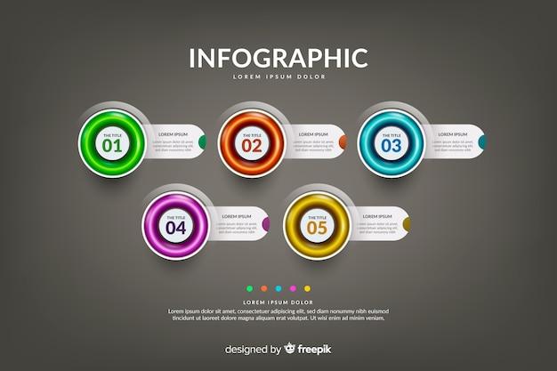 Cronograma realista infográfico brilhante