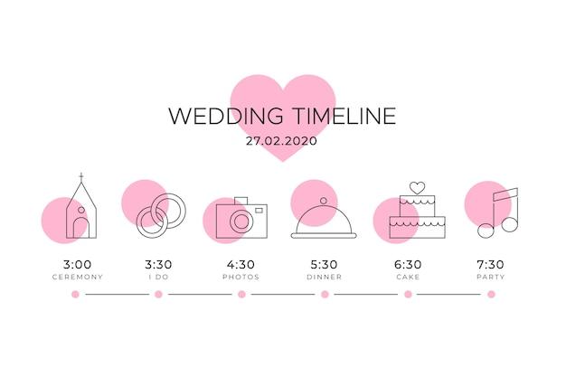 Cronologia do casamento com motivo de coração rosa