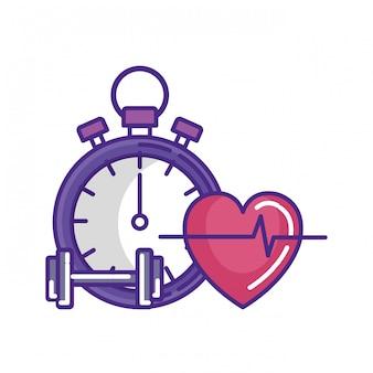 Cronômetro com halteres e coração cardio