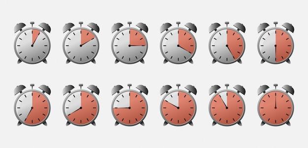 Cronômetro com hora diferente. conjunto de ícones do temporizador.