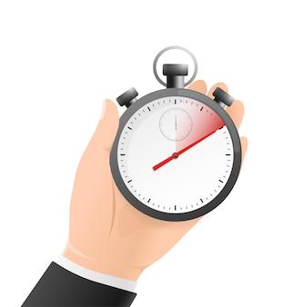 Cronômetro com mão no branco