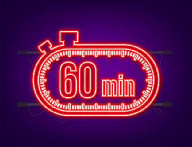 Cronômetro de 60 min no letreiro de néon