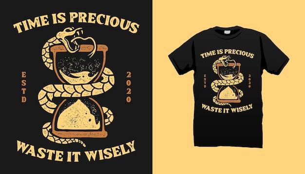 Cronômetro de areia e design de camiseta de cobra