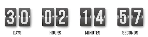 Cronômetro de contador de relógio de contagem regressiva de flip realista. dia de contagem regressiva plana.