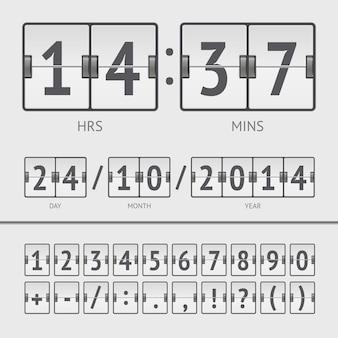 Cronômetro de contagem regressiva branca e números do placar. ilustração vetorial