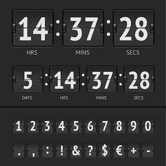 Cronômetro de contagem regressiva preto e números do placar