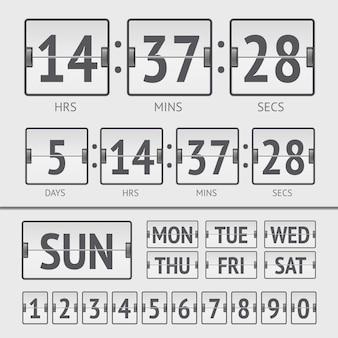 Cronômetro digital da semana do placar branco analógico. ilustração vetorial