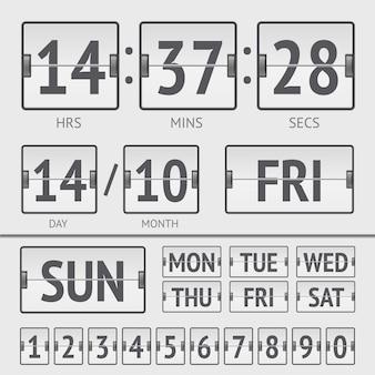 Cronômetro digital de flip scoreboard branco com data e hora da semana