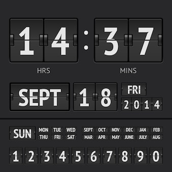 Cronômetro digital de placar flip preto com data e hora da semana