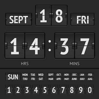 Cronômetro digital preto flip scoreboard com data e hora da semana