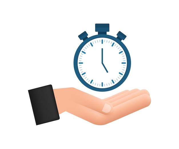 Cronômetro em mãos no fundo branco ícone plano com cronômetro conceito de negócio