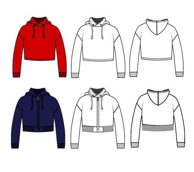 Crop hoodie fashion plats modelo