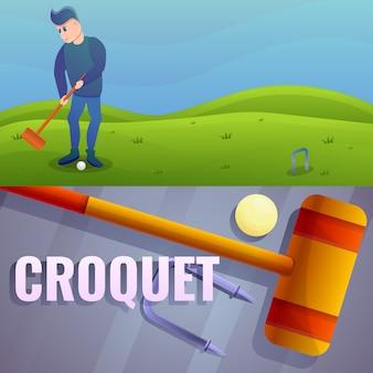 Croquet conjunto de ilustração. caricatura, ilustração, de, croquet
