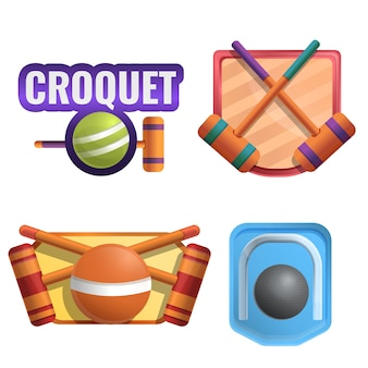 Croquet conjunto de logotipo, estilo cartoon