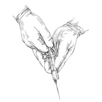 Croqui de mão com luvas. médico, encher uma seringa. seringa de exploração de mão. injeção