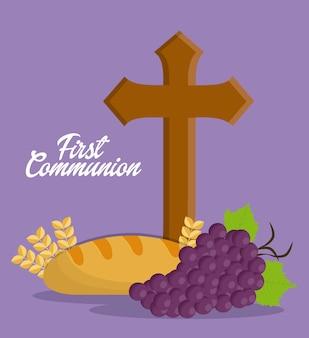 Cross grapes bread ícone de orelha de trigo