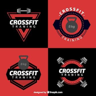 Crossfit preto uma coleção de etiqueta vermelha
