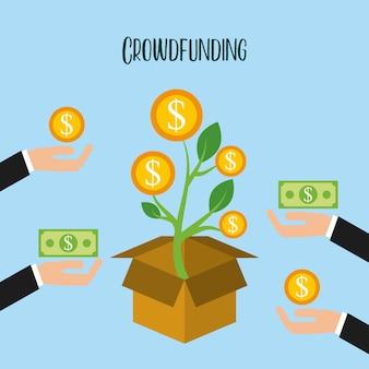 Crowdfunding crescimento de doação de moedas voluntário
