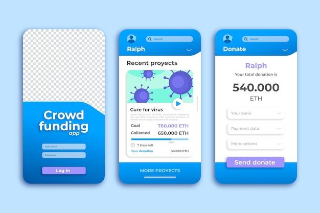 Crowdfunding doar modelo de aplicativo de smartphone