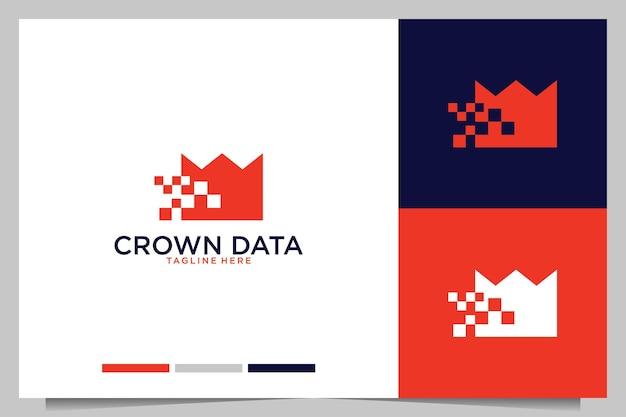 Crown com design de logotipo de tecnologia de dados