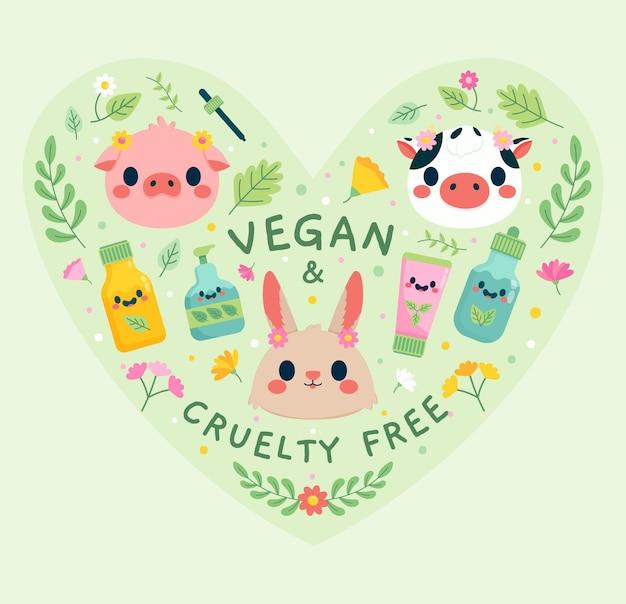 Crueldade livre e vegana desenhada à mão