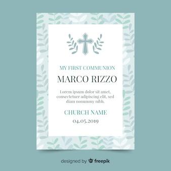 Cruz com folhas primeiro convite de comunhão