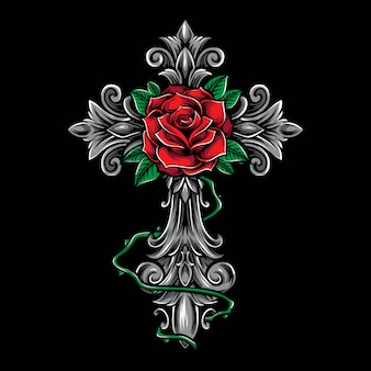 Cruz com ornamento rosa