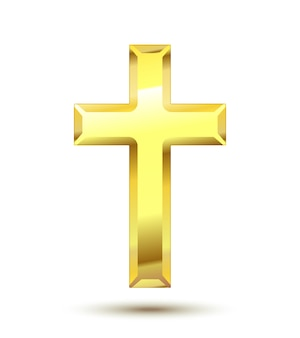 Cruz cristã dourada isolada