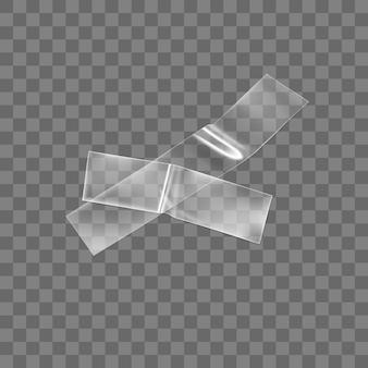 Cruz de fita plástica adesiva transparente isolada em fundo transparente.