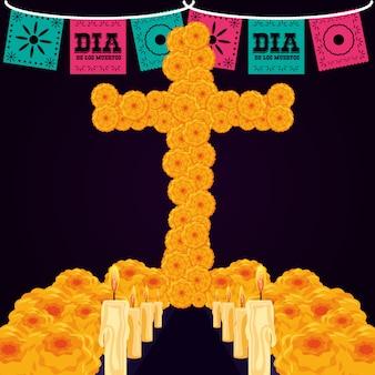 Cruz de flor com velas do dia dos mortos