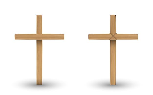 Cruz de madeira real em um com fundo