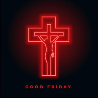 Cruz de sexta feira em néon vermelho brilhante